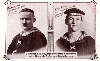 German sailors Albin Köbis (1892-1917) and Max Reichpietsch (1894-1917)