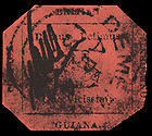 British Guiana 1 Cent Magenta Stamp, 1856