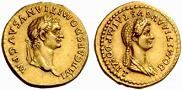 Roman Emperor Domitian (51-96) and Empress Domitia Longinus (53-130)