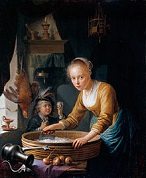 'Girl Chopping Onions', by Gerrit Dou (1613-75) 1646