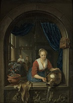 'The Kitchen Maid with a Boy in the Window', by Gerrit Dou (1613-75), 1660)