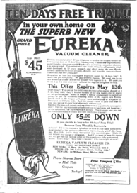 Eureka Model 9 Vacuum Cleaner, 1922
