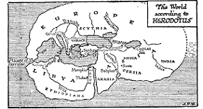 Map of the World According to Herodotus (-484 to -425)