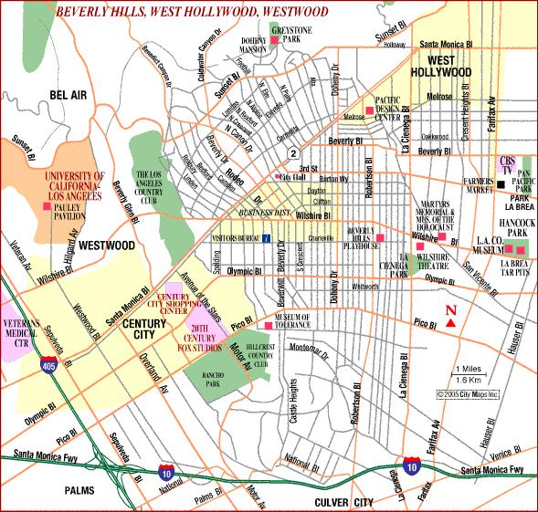 Hollywood/Beverly Hills Map