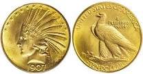 U.S. $10 Indian Head Eagle, 1907-33