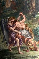 'Jacob Wrestling with Angel' by Eugene Delacroix