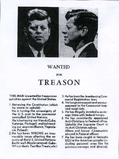 JFK Wanted for Treason Poster, 1963