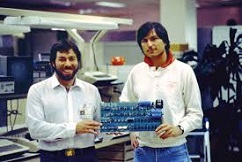 Steve Jobs (1955-2011) and Steve Wozniak (1950-)