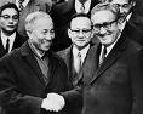 Le Duc Tho (1911-90) of Vietnam and Henry Alfred Kissinger of the U.S. (1923-)