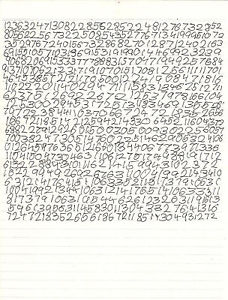 Caleb's Number Sheet from 'Knowing', 2009