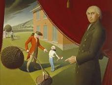 'Parson Mason Locke Weems (1759-1825) and the story of Washington Chopping Down the Cherry Tree', Grant Wood (1891-1942), 1939