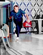 Pres. Nixon in White House Bowling Alley, 1970