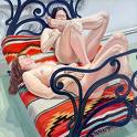 'Two Female Nudes on Cast Iron Bed' by Philip Pearlstein (1924-), 1968