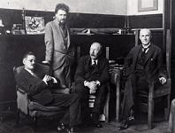 Johnn Quinn (1870-1924) with James Joyce, Ezra Pound, and Ford Madox Ford in Paris