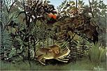 'The Hungry Lion Throws Itself on the Antelope' by Henri Rousseau (1844-1910), 1905