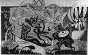 Royal Academy Cartoon, showing Sir William Chambers slaying the 8-headed hydra of the Society of Artists, 1768