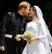British Prince Harry (1984-) and Meghan Markle (1981-) in Royal Kiss, May 19, 2018