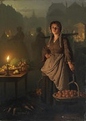 'Market by Candlelight' by Petrus van Schendel (1806-70), 1869