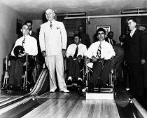 Pres. Truman in White House Bowling Alley, 1953
