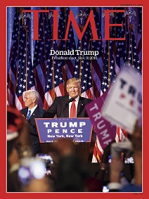 Donald Trump (1946-) on Time mag. cover, Nov. 9, 2016
